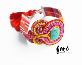 Sweet like a candy- colorful bracelet soutache- OOAK, bracciale soutache,Couleur du bracelet, boho style