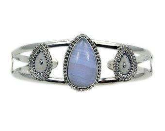 Blue Lace Agate & .925 Sterling Silver Cuff Bracelet , Ad449