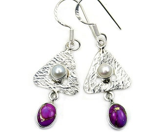 Purple  Mohave Turquoise, Pearl & Sterling Silver Dangle Earrings ; AB34