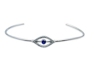 Evil Eye Sterling Silver CZ Cuff Bracelet , ACAC984
