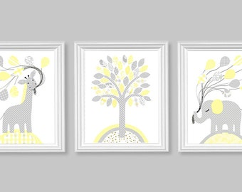 Nursery Art, Baby Decor, Modern Nursery, Pale Yellow and Grey, Giraffe Nursery, Elephant Nursery, Balloons, Tree, Gender Neutral Baby Decor