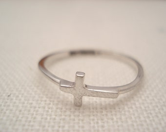 Sideways Cross Sterling silver Ring...Custom Engravable ring, eternity ring, Best friends ring, Promise ring,