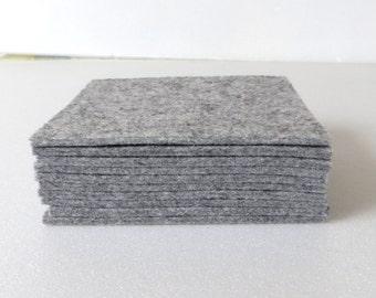 Light Gray Felt Coasters, Set of Two Grey Felt Coasters, Light Grey Trivets