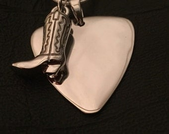 Country Music personalised sterling silver guitar pick pendant with cowboy boot necklace set