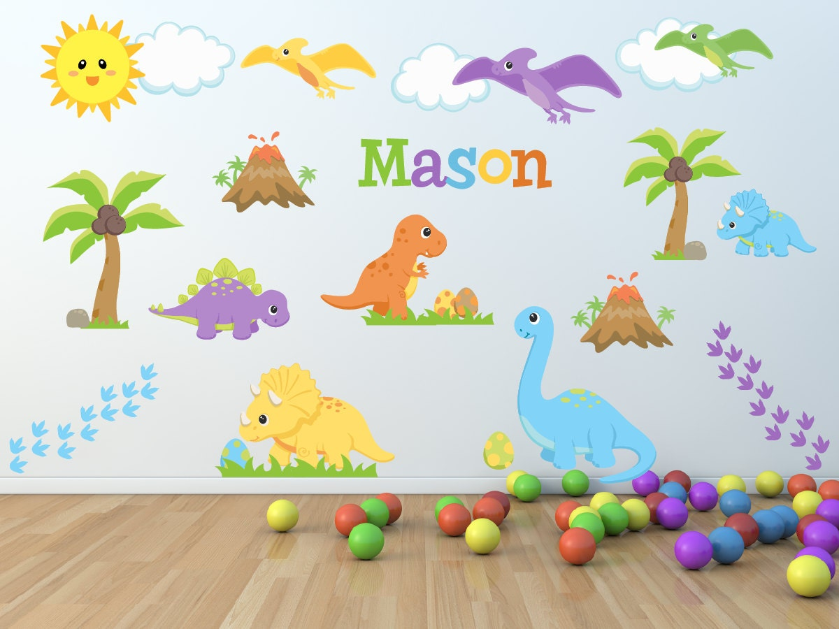 Dinosaur kids room kids room wall decals dinosaur wall for Dinosaur pictures for kids room