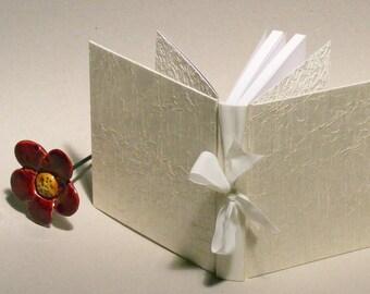 Wedding Guest Book, Small Wedding Book, Wedding Memory Book, White Silk Journal, Wedding Accessory, Bridal Shower Gift, Engagement Gift