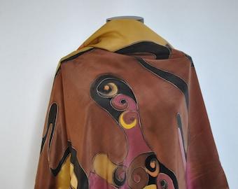 Vintage HANDMADE SILK SCARF , hand dyed silk scarf.....(134)