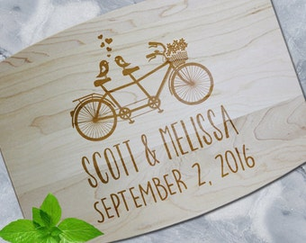 "Custom ""Bicycle for Two"" Engraved Arched Maple Wood Cutting Board"