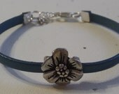 Teal Leather Strap With Detailed Flower Accent