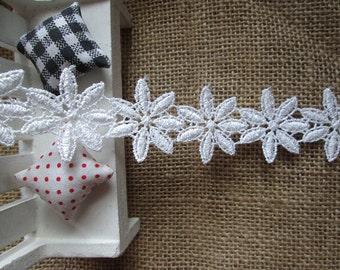 wholesale lot 14YARDS White flower frill Lace Trim diy wedding dress doll 3cm