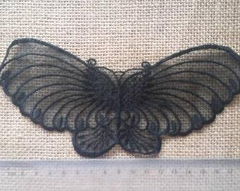 Wholesale LOT  20PCS   Large black butterfly organza lace  Applique Patches 8*20cm