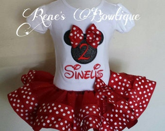 Minnie Mouse Birthday Ribbon Tutu Set | Birthday Party Outfit | Red and Black Minnie Mouse