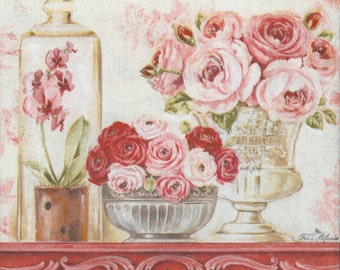 4 Decoupage Napkins   Shabby Roses on a Mantle   Rose Napkins   Floral Napkins   Shabby Napkins   Paper Napkins for Decoupage