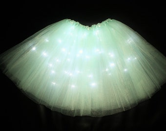 Child Aqua LED Light up Tutu Skirt Fits Toddler 2 to Girls 8