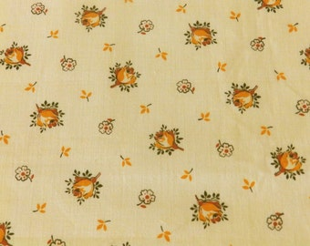 Vintage French floral fabric - rosebuds - Autumnal colours - TS9