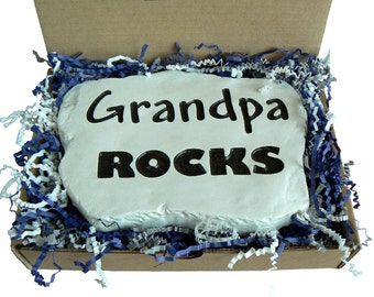 Grandpa Rocks - carved in Stone. For your dad, brother or papa.