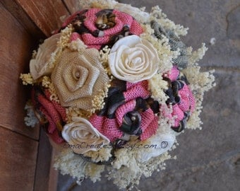 Ready- To- Ship, Pink Camo Burlap Bouquet, Pink Camo Bouquet, Browning Wedding, Hunting Wedding