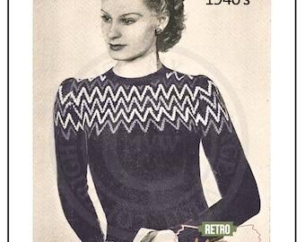 1940s Fair Isle Chevron Sweater - Vintage Knitting Pattern - PDF Instant Download