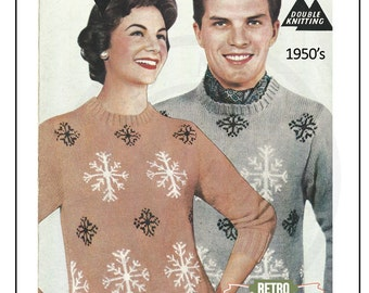 1950s His n Hers Fair Isle Snowflake Sweater - Vintage Knitting Pattern - PDF Instant Download