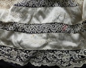 Superb Victorian silk and lace skirt embroidered for upcycling