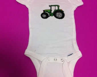Embroidered Tractor Onesie