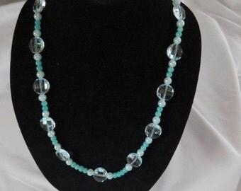 Aqua Beaded Necklace, Opera Length Necklace, Glass Bead Necklace