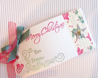 Set of Three Large Christmas Gift Tags, Holiday Gift Tag, Christmas Tag, Xmas Gift Tag, Handmade Gift Tag,Handmade Christmas Gift Tag