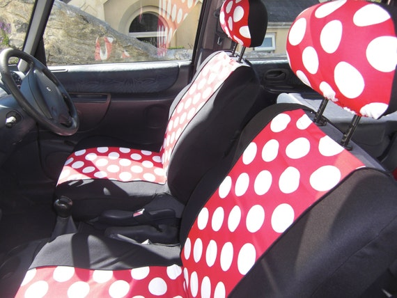 funky vintage style pair of car front seat covers retro red. Black Bedroom Furniture Sets. Home Design Ideas