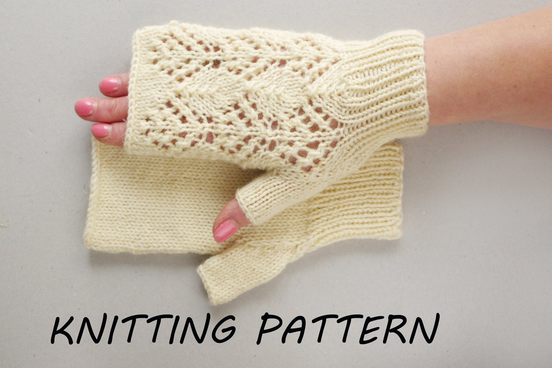 Ladies Mittens Knitting Pattern : Fingerless mittens knitting pattern women mitts knitting