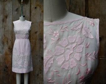 c. 1960s floral cutout shift dress + vintage 60s pale pink illusion bodice shift dress