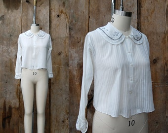 c. 1920s embroidered blouse + vintage 20s white cotton peter pan collar top
