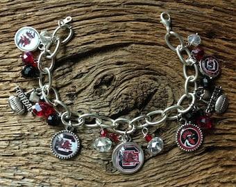 USC Gamecocks charm bracelet: Carolina Gamecocks jewelry with crystals