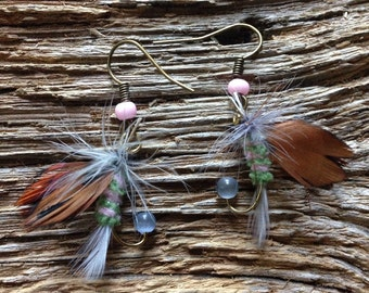 Pink, green, and light blue fly earrings: trout fly fishing fly earrings