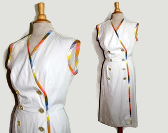 50s White Dress / 1950s Summer Dress Sleeveless Tall M