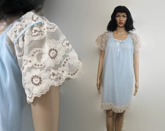 New 60s Babydoll Nightgown S / Blue Chiffon Nightie Lace / Vintage Lingerie