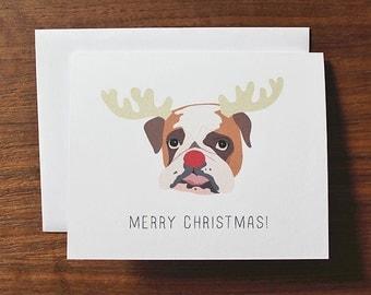 Dog Christmas Card, Rudolph Dog Themed Christmas Card, Bulldog Card, Bulldog Christmas Card, Cute Holiday Card, Cute Christmas Card