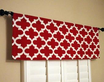 Kitchen Valance Curtains - Red Window Valance - Kitchen Window Valance - 50x16 Valance - Window Treatments