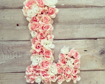 Pink and white floral monogram letter