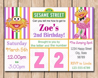 Zoe Birthday Invitation | Sesame Street - 1.00 each printed or 10.00 DIY file
