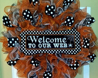 """Halloween Wreath """"Welcome to our Web"""""""
