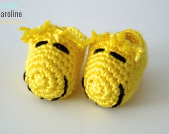 Woodstock and Snoopy Crochet Baby Booties - Please Select Set and Size