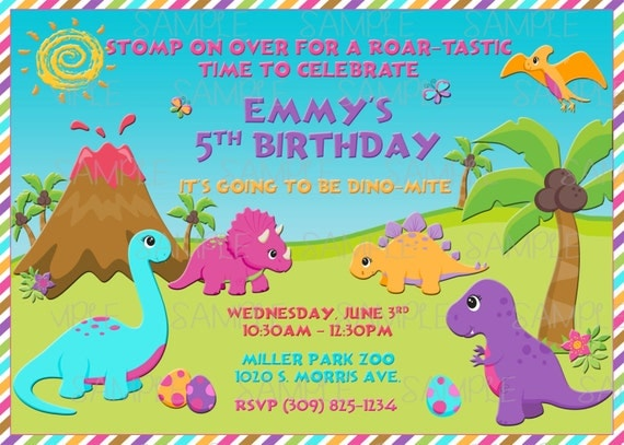 Printable Girl Dinosaur Birthday Party Invitation plus FREE – Free Printable Dinosaur Birthday Party Invitations