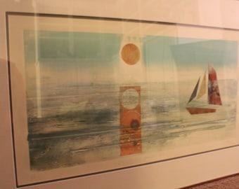 "Mixed media nautical painting of a sailing scene: ""Bright Sun"" (1985)"