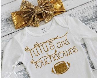 Baby Football Shirt, Baby Football, Tutu and Touchdowns, Baby Football Outfit, Baby, College Football Baby Girl, Baby Girl. Football