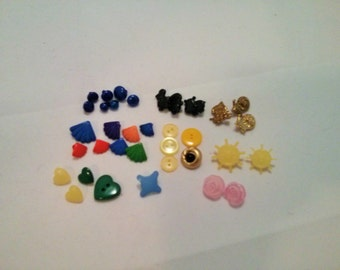Vintage Small Colorful Plastic Buttons