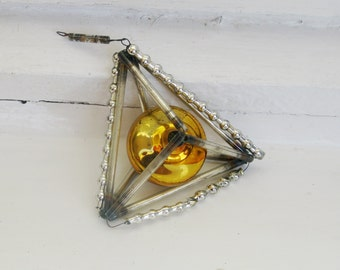 Antique Mercury Glass Christmas Ornament, Silver and Yellow Ornament Construction Bugle beads, Vintage Soviet 1930-50s Xmas and New Year
