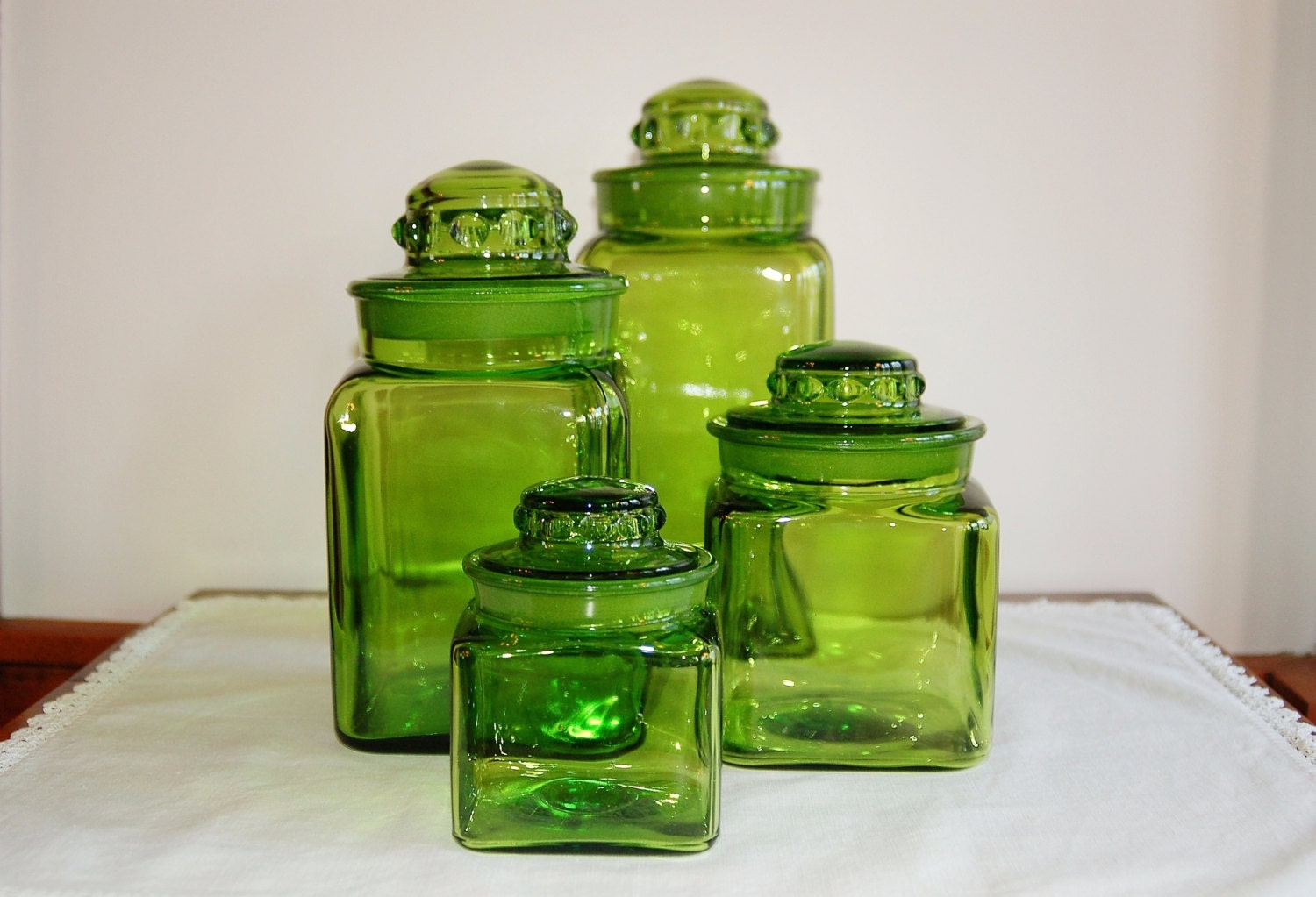 green glass kitchen canisters le smith 4 square green glass lidded canister set 3987