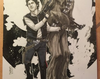 ORIGINAL ART, Han & Chewie: The Nerfherder and the Walking Carpet by Tom Hodges