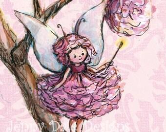 Cute Woodland Fairy Art Print- pink girls' room decor, nursery decor, woodland theme