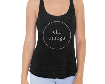 Chi Omega Tank Top American Apparel Racerback Tank for Chi Omega. Available in 4 Color Options.